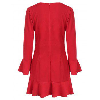 Flare Sleeve Drop Waist Flounce Dress - RED L