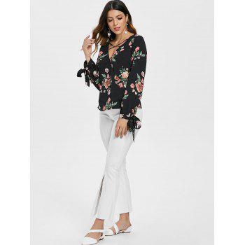 Floral Print Low Cut Long Sleeve Blouse - BLACK M