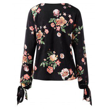 Floral Print Low Cut Long Sleeve Blouse - BLACK L