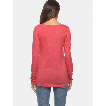 Zip Breast Pocket T-shirt - RED M