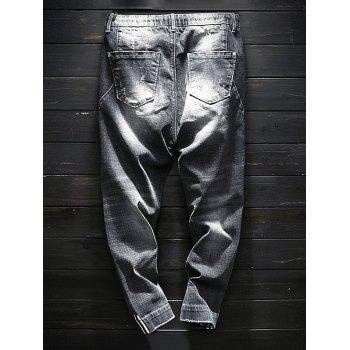 Faded Wash Destroyed Drawstring Jeans - GRAY WOLF 38