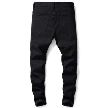 Paint Letter Zip Fly Jeans - BLACK 34