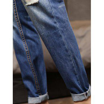 Destroyed Faded Wash Applique Jeans - BLUE 32