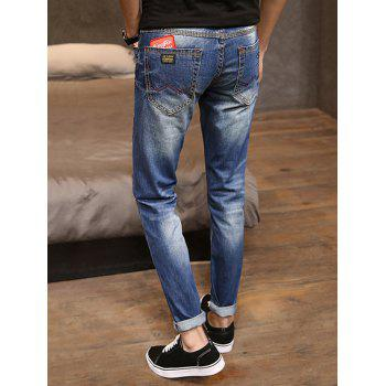 Destroyed Faded Wash Applique Jeans - BLUE 34