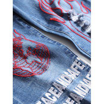Letter and Eyes Print Tapered Jeans - BLUE 34