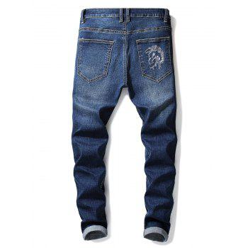 Zip Fly Embroidery Letter Jeans - BLUE 38