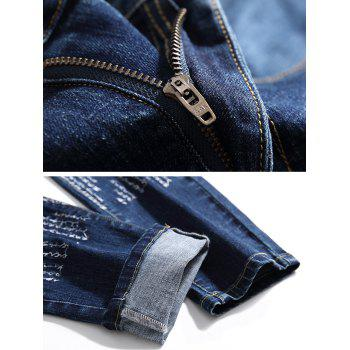Zip Fly Embroidery Letter Jeans - BLUE 36
