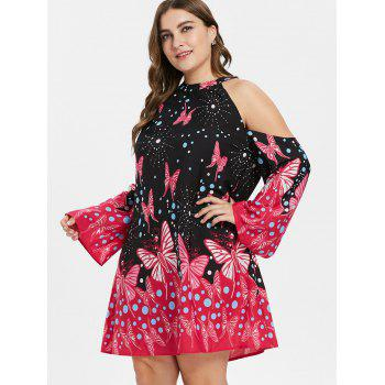 Plus Size Knee Length Butterfly Pattern Dress - BLACK 2X