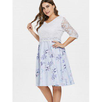 V Neck Plus Size Floral Print Dress - WHITE L