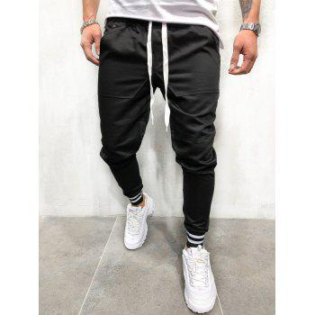 Casual Solid Pockets Sports Jogger Pants - BLACK L