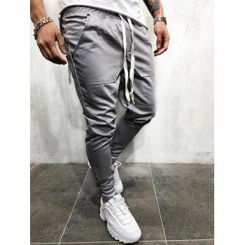Casual Solid Pockets Sports Jogger Pants - LIGHT GRAY M