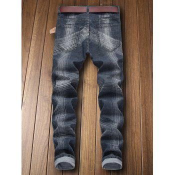Zip Fly Destroyed Colored Line Jeans - BLUE JAY EU 36