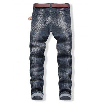 Zip Fly Destroyed Colored Line Jeans - BLUE JAY EU 42