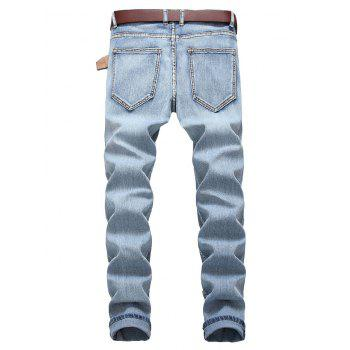 Light Wash Zip Fly Distressed Jeans - CRYSTAL CREAM EU 34