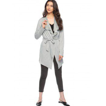 Collarless Asymmetrical Faux Suede Coat - GRAY L