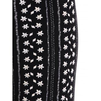 Floral Striped Print Leggings - BLACK ONE SIZE