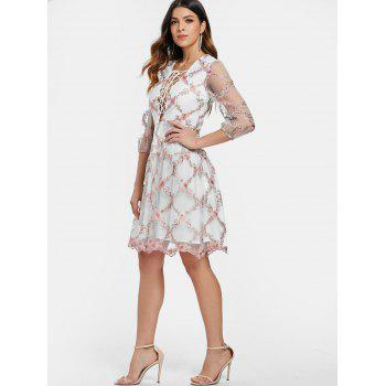 Tiny Floral Embroidery Low Cut Cocktail Dress - multicolor M