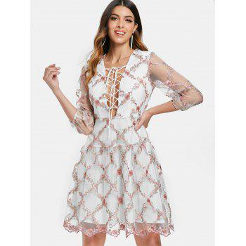 Tiny Floral Embroidery Low Cut Cocktail Dress - multicolor L