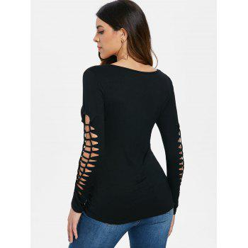 Cut Out Long Sleeve Gothic Print T-shirt - BLACK S