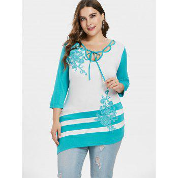 Plus Size Embroidery Appliqued Asymmetric T-shirt - MACAW BLUE GREEN L