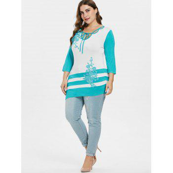 Plus Size Embroidery Appliqued Asymmetric T-shirt - MACAW BLUE GREEN 5X