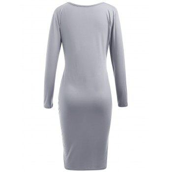 Twist Front Long Sleeve Plunging Neckline Dress - LIGHT GRAY XL