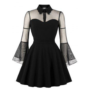 Keyhole Neck Plus Size Mesh Panel Swing Dress