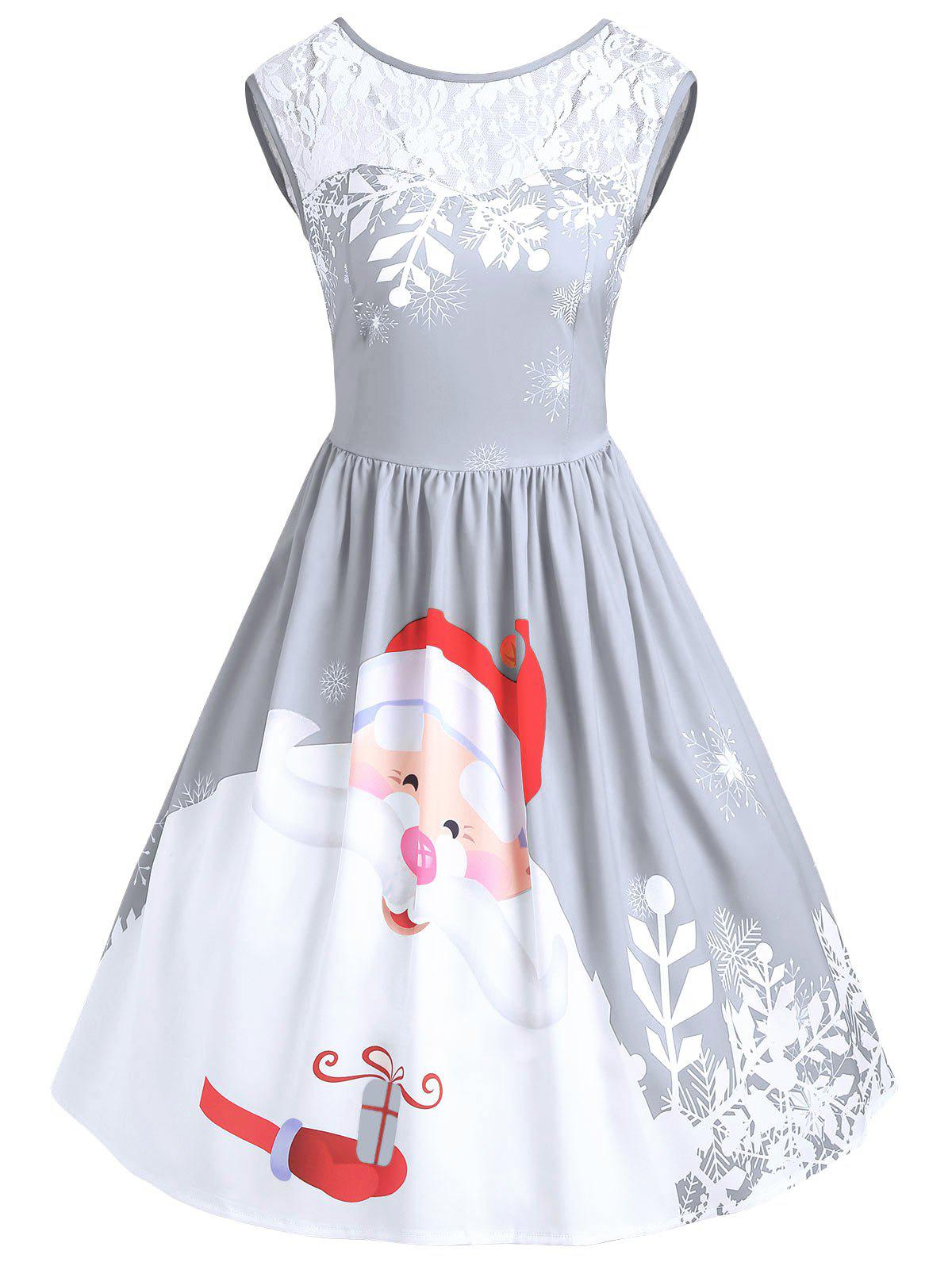Christmas Lace Insert Santa Claus Print Party Dress - FROST L