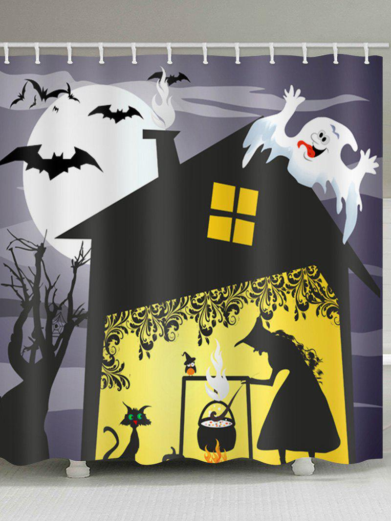 Halloween Witch House Print Waterproof Shower Curtain - BLACK W71 X L71 INCH