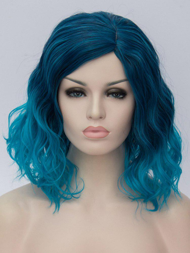 Medium Side Parting Ombre Natural Wavy Cosplay Synthetic Wig - multicolor B