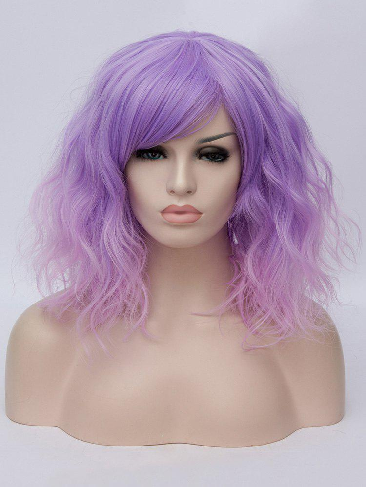 Medium Inclined Bang Ombre Natural Wavy Party Synthetic Wig - multicolor C