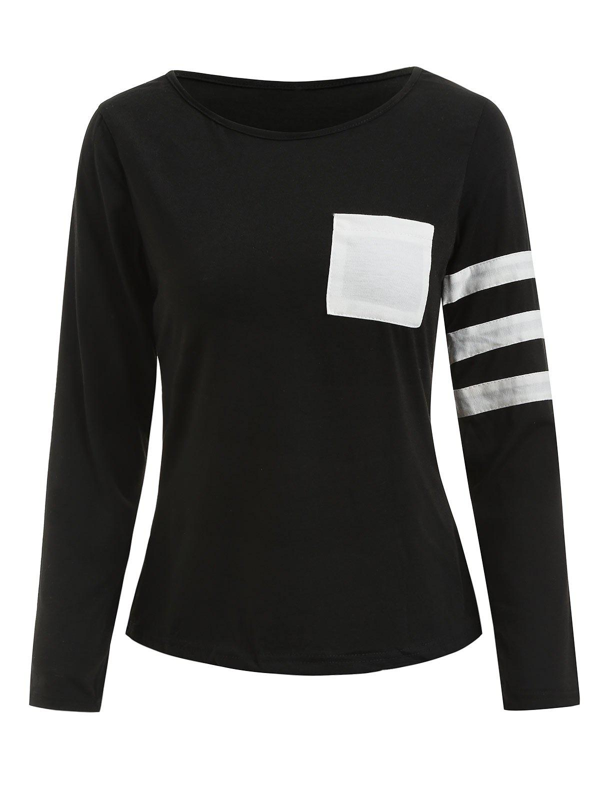 Pocketed Color Block Striped Sleeve T-shirt