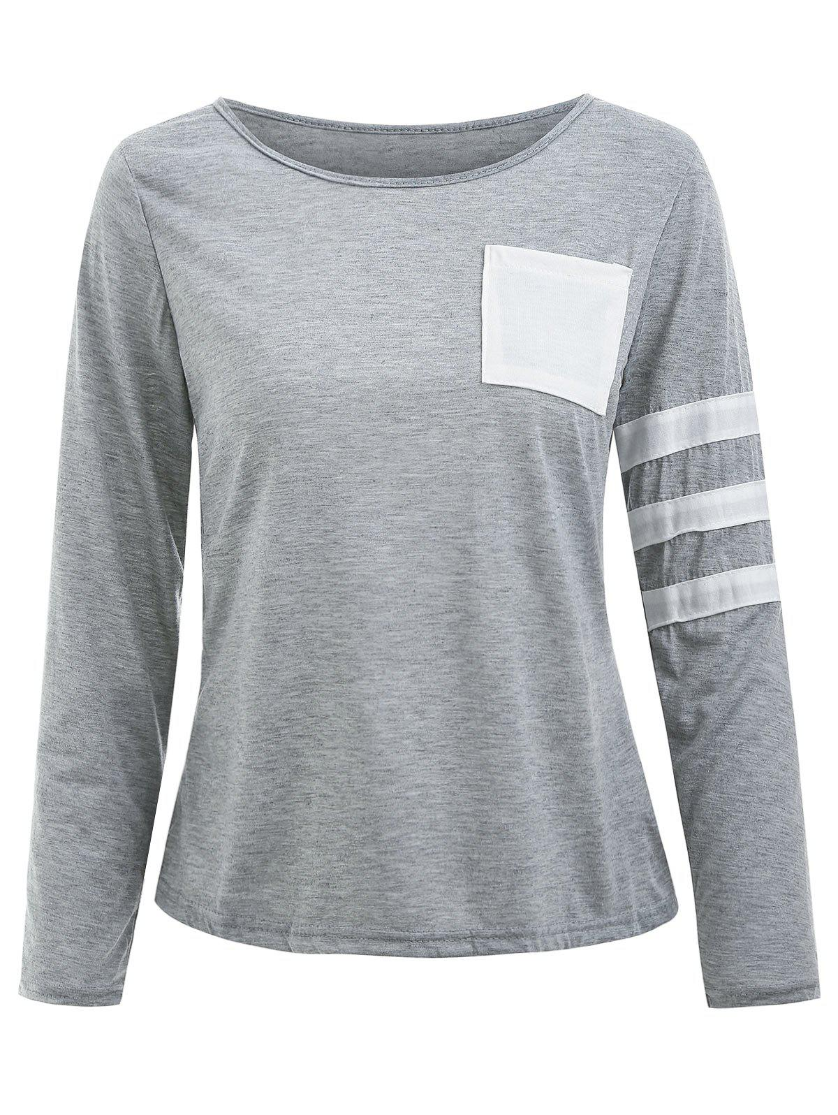 Pocketed Color Block Striped Sleeve T-shirt - GRAY M