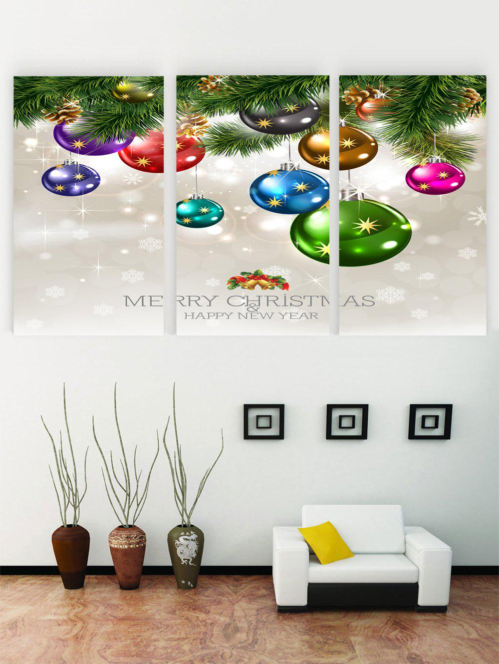 Merry Christmas Happy New Year Pattern Canvas Paintings - multicolor 3PCS X 16 X 24 INCH( NO FRAME)