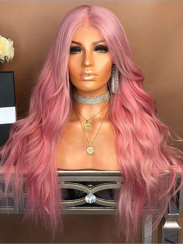 Long Center Parting Natural Wavy Synthetic Fiber Party Wig - LIGHT PINK