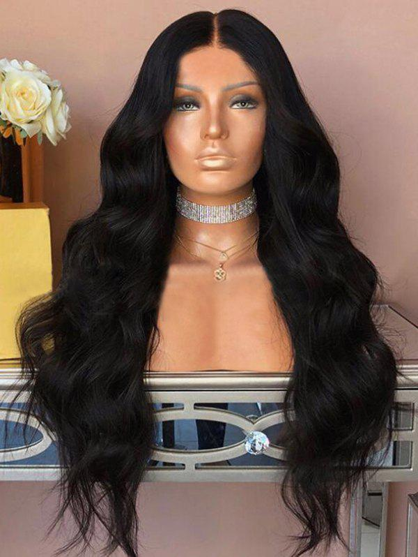 Long Middle Part Body Wave Capless Synthetic Wig - BLACK