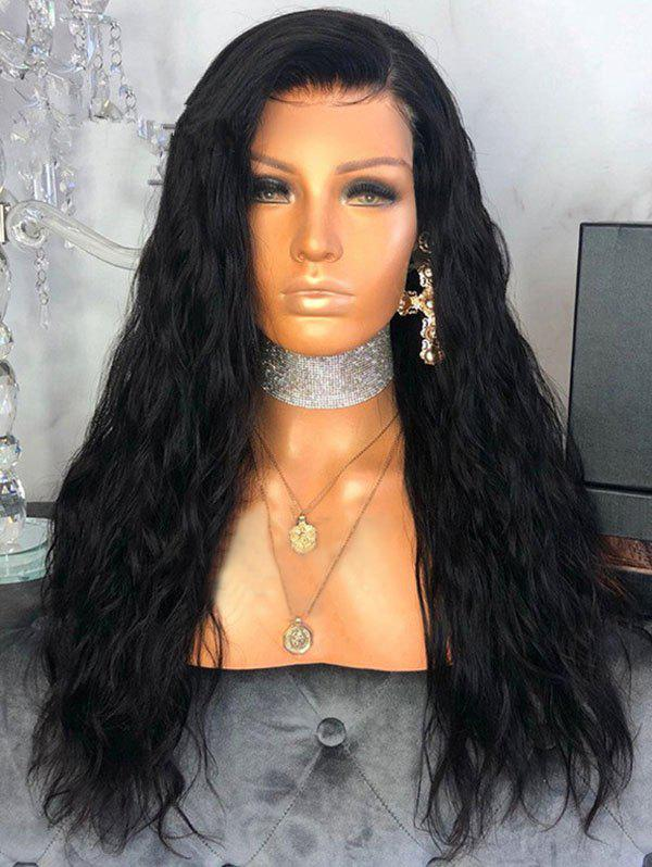 Long Free Part Natural Wavy Synthetic Lace Front Wig - BLACK 24INCH