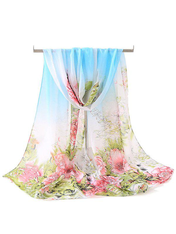 Soft Flowers Printing Silky Long Scarf - multicolor A