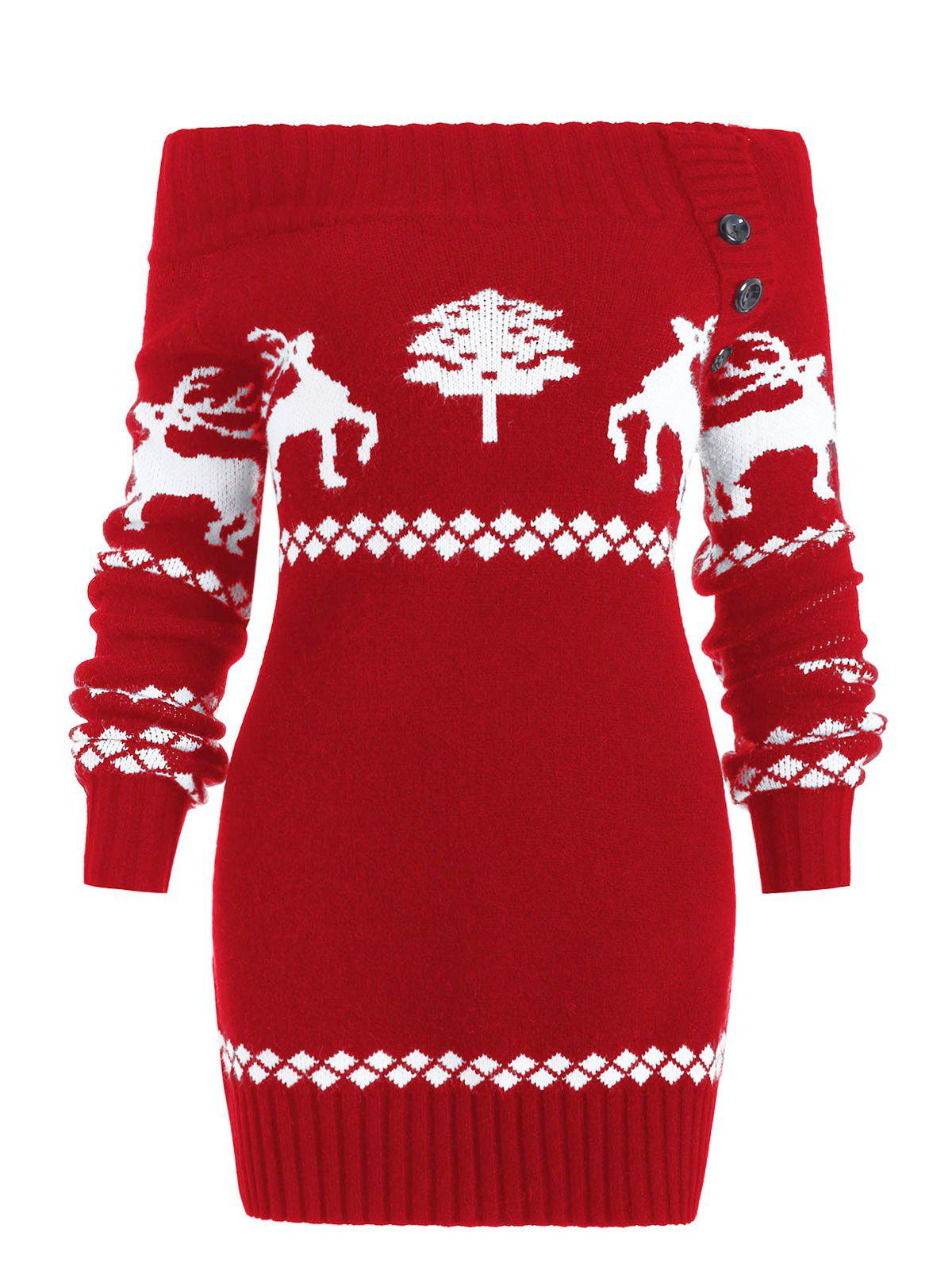 Off The Shoulder Reindeer Knit Tunic Sweater - RED S