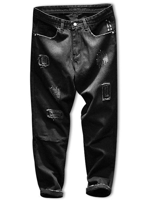 Dark Wash Zip Fly Destroyed Tapered Jeans - BLACK 36