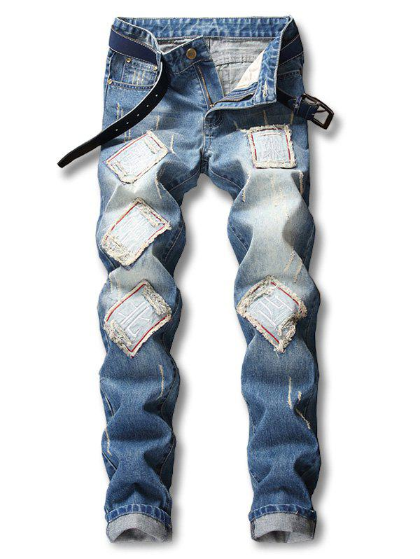 Chinese Character Poker Applique Embellished Destroyed Jeans