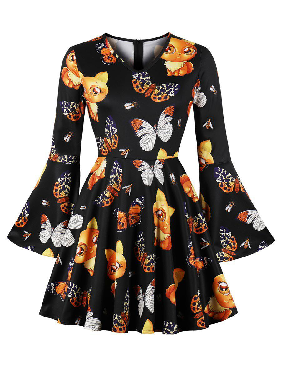 Cartoon Figure Plus Size A Line Dress - BLACK 3X