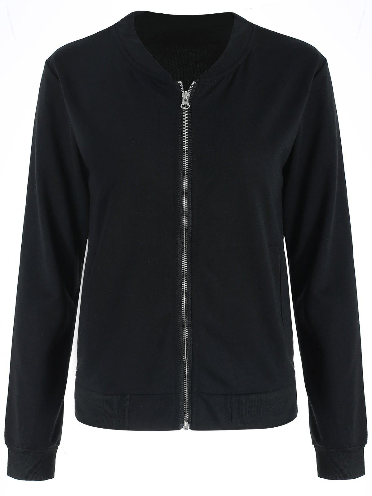 Zipper Jacket with Pockets - BLACK L