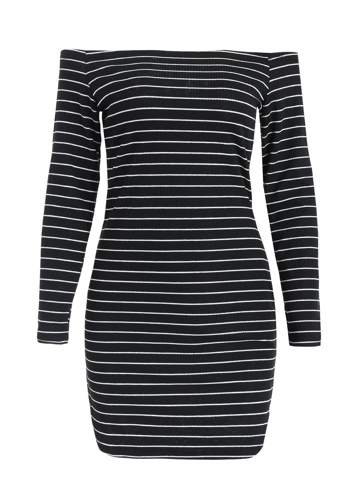 Long Sleeve Mini Striped Knitted Dress - BLACK L