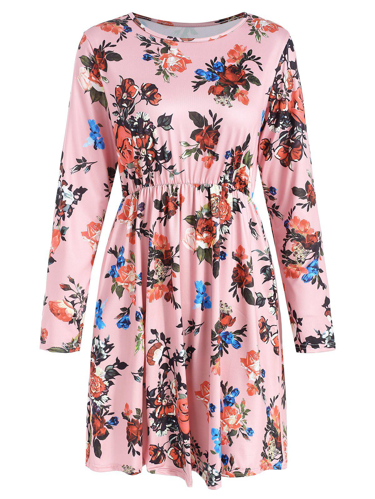 Long Sleeve Floral Print High Rise Dress - LIGHT PINK 2XL