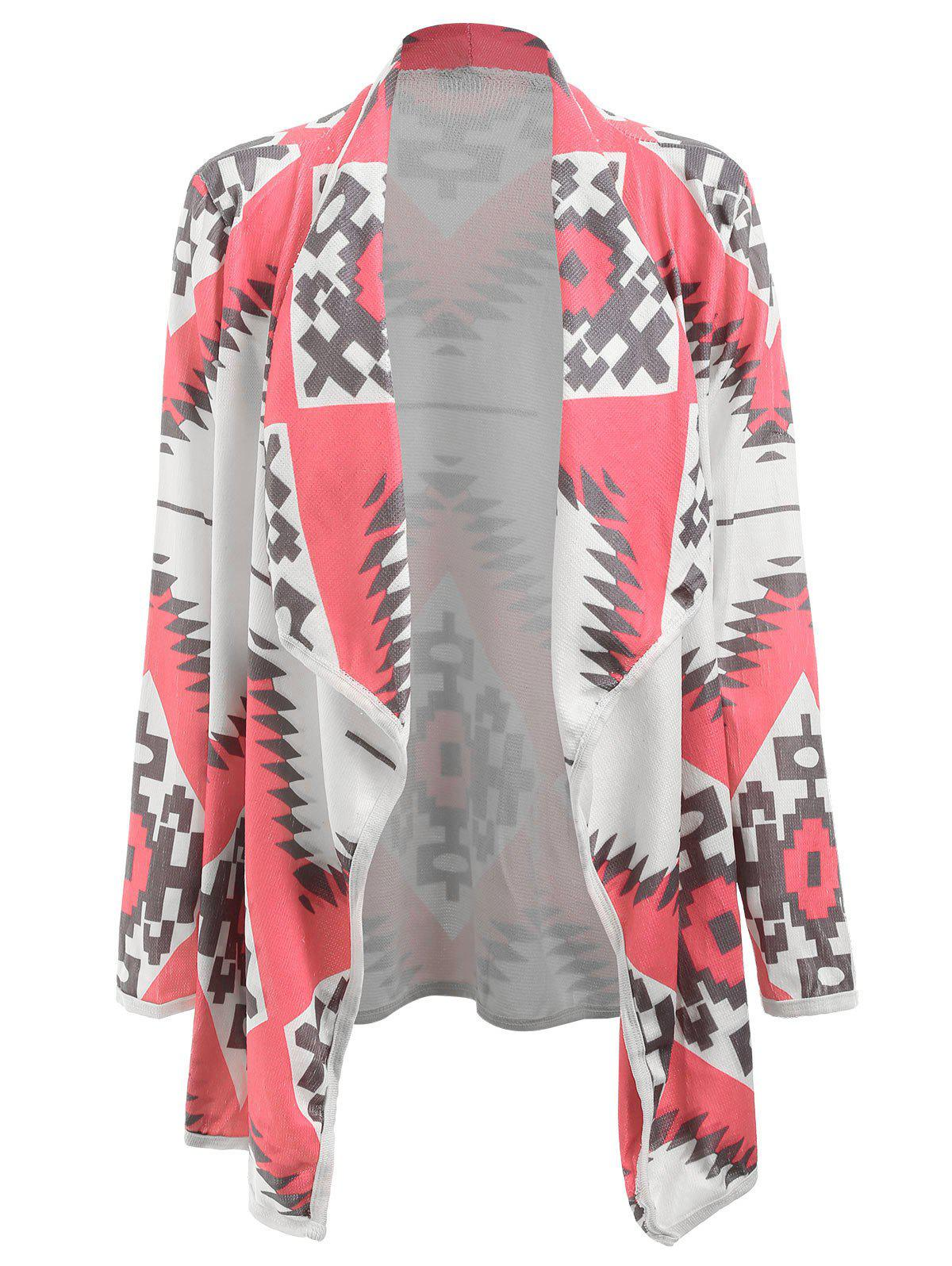 Stylish Long Sleeve Turn-Down Collar Geometric Print Women's Cardigan - LIGHT PINK XL