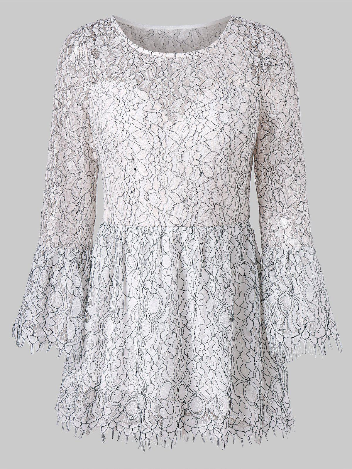 Bell Sleeve Lace Peplum Blouse - WHITE 2XL