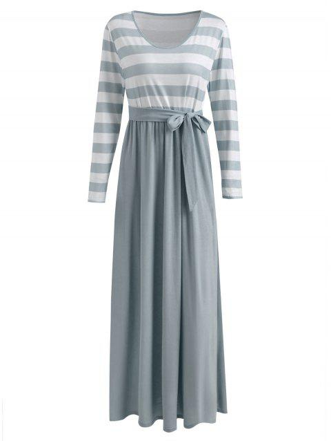 Long Sleeve Striped Panel Maxi Dress - GRAY M