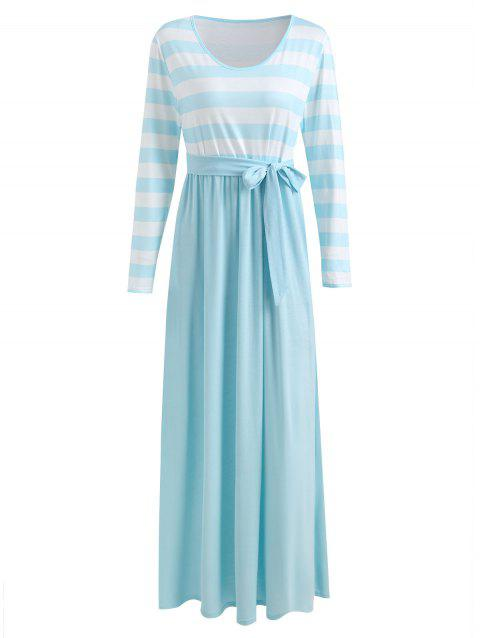 Long Sleeve Striped Panel Maxi Dress - BLUE LAGOON L