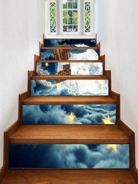 Christmas Moon Night Print Stair Stickers - multicolor 6PCS X 39 X 7 INCH( NO FRAME )